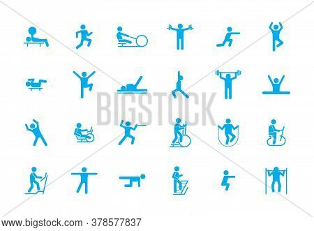 Sports Fitness Workout Icons Large Set. Training In Sports Centers Sports Treadmill Walking Ground L