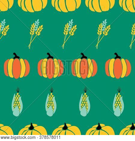Maize Plant, Crop And Pumpkins On Green Background Seamless Repeating Vector Pattern. Fall Harvestin