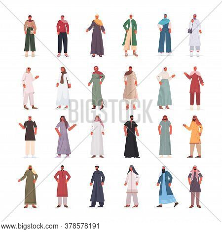 Set Arabic Men Women In Traditional Clothes Arab Male Female Cartoon Characters Collection Full Leng