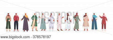 Set Arabic Women In Traditional Clothes Arab Female Cartoon Characters Collection Full Length Isolat