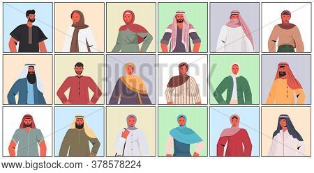 Set Arabic Men Women In Traditional Clothes Arab Male Female Cartoon Characters Collection Portrait