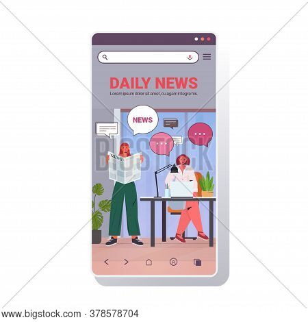 Businesswomen Reading Newspaper Discussing Daily News During Meeting Chat Bubble Communication Conce