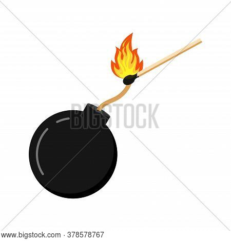 Bomb And Burning Match Flat Design Icon Isolated On White Background. Black Cannonball Sign With Fir