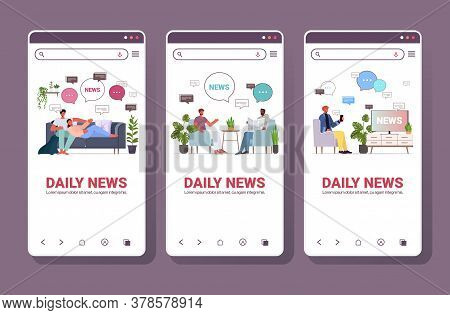 Set Mix Race People Reading And Discussing Daily News Chat Bubble Communication Concept Smartphone S
