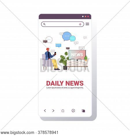 Man Watching Tv And Discussing Daily News In Mobile Chatting App Chat Bubble Communication Concept S