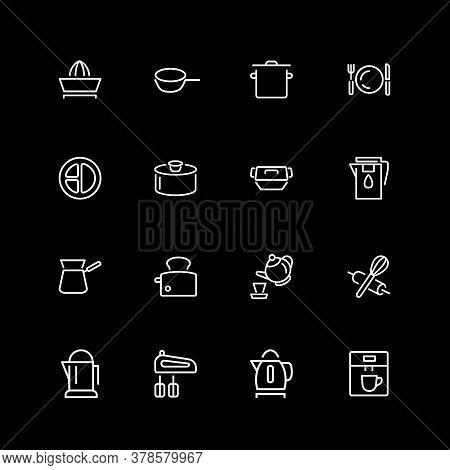 Set Of Utensil, Tool Line Icons. Toaster, Mixer, Saucepan, Coffee Machine. Kitchen Concept. Illustra