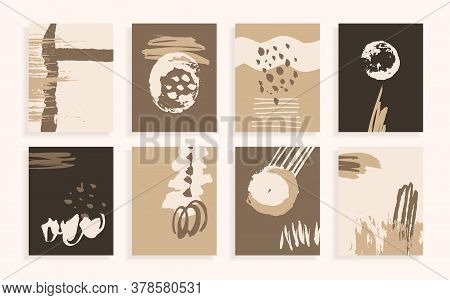 Unusual White, Brown, Beige Cards. Pastel Brochures. Set Of Abstract Vector Backgrounds. Hand-drawn
