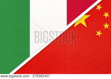 Italy Or Italian Republic And China Or Prc, Symbol Of Two National Flags From Textile. Relationship,