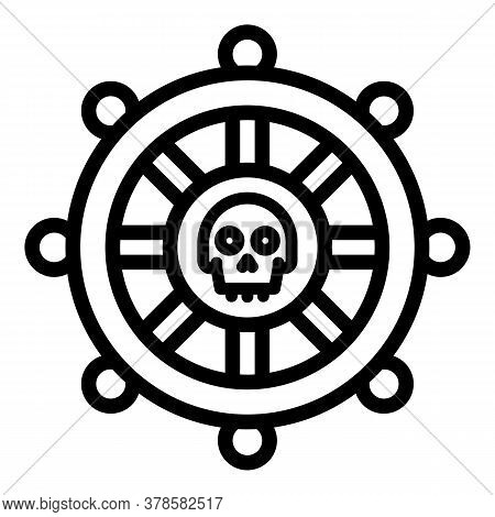 Pirate Ship Wheel Icon. Outline Pirate Ship Wheel Vector Icon For Web Design Isolated On White Backg