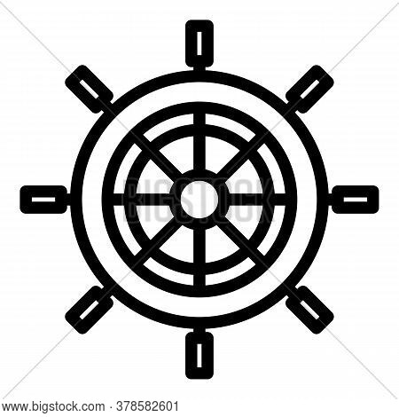 Controller Ship Wheel Icon. Outline Controller Ship Wheel Vector Icon For Web Design Isolated On Whi
