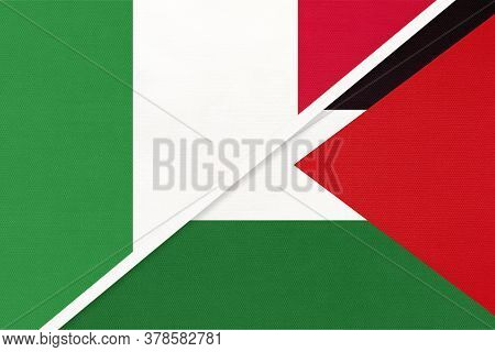 Italy Or Italian Republic And Palestine, Symbol Of Two National Flags From Textile. Relationship, Pa
