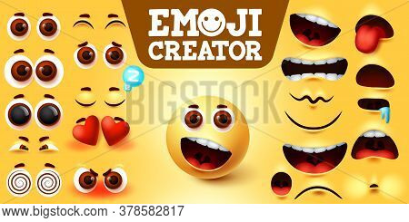 Emojis Smiley Creator Happy Vector Set. Emoji Maker Character Kit With Editable Facial Expressions,