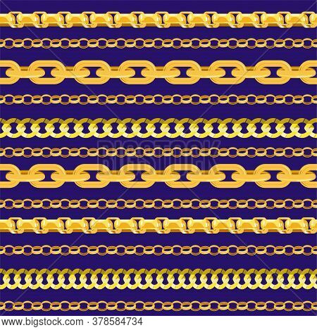 Horizontal Chain Seamless Pattern. Gold Chains Elements, Vector Golden Jewellery Endless Objects For