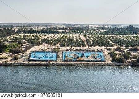 Ismailia, Egypt - November 14, 2019: Egypt Bas-relief Panel On A Side Of The New Suez Canal, Ismaili
