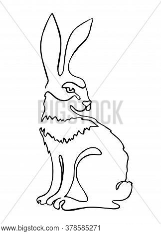 Continuous One Line Drawing Rabbit Hare. Continuous Black Outline Drawing On White Background. Logo