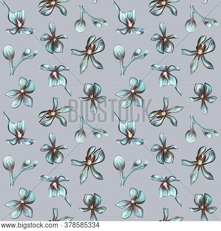 Seamless Botanical Pattern Of An Orchid On A Grey Background. Beautiful Botanical Illustration Of Or