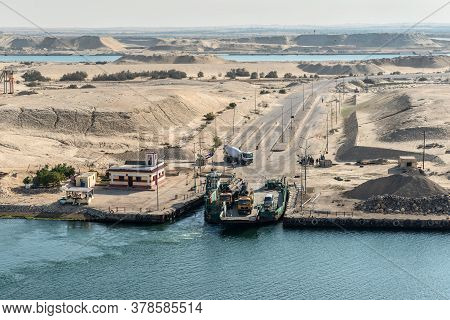 El Ferdan, Egypt - November 14, 2019: Ferry Station On A Sandy Island In The Middle Of The New Suez