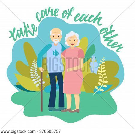 Caring Elderly Couple. Joyful Nice Elderly Couple Smiling While Being In A Great Mood. Happy Grandpa