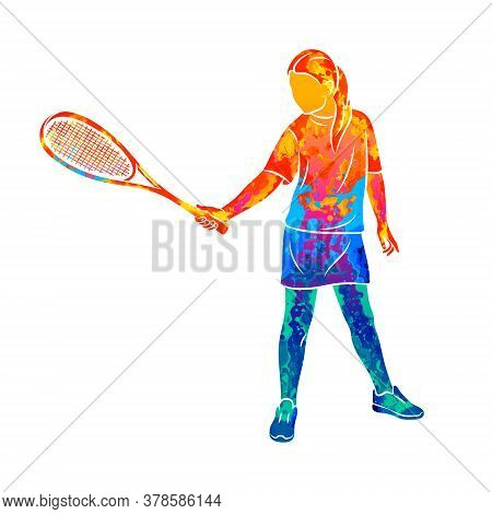Abstract Young Woman Does An Exercise With A Racket On Her Right Hand In Squash. Squash Game Trainin