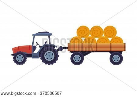 Tractor With Hay Bales In Cart Agricultural Machinery Cartoon Vector Illustration On White Backgroun
