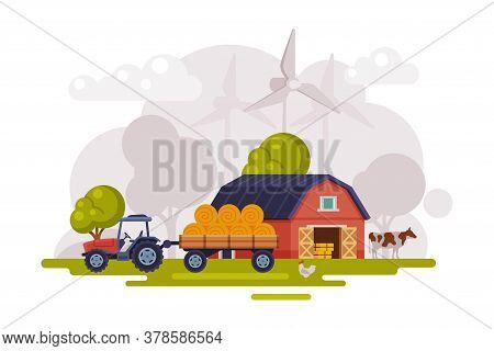 Farm Scene With Red Barn, Wind Turbine And Tractor, Summer Rural Landscape, Agriculture And Farming