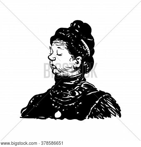 Portrait Woman In Abstract Line Graphic Sketch Style. Female Face Drawing Of A Chubby Wealthy. Simpl