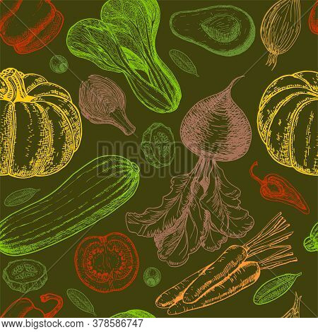 Seamless Pattern With Sketch Of Vegetables. Vegetables Background. Healthy Food. Vegetables On White