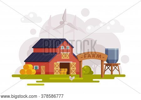 Farm Scene With Red Barn House, Wind Turbine And Water Tower, Summer Rural Landscape, Agriculture An