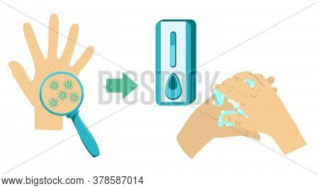 Washing Hands With Soap Vector Sign. Washing Hands With Soap To Prevent Virus And Bacteria.vector Il