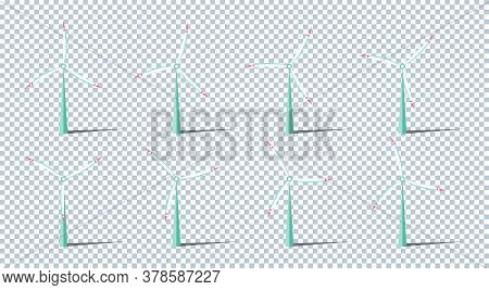 Set Of Vector Illustration. Windmills With Shadow. Wind Turbines With Changing Angle Rotation. Symbo