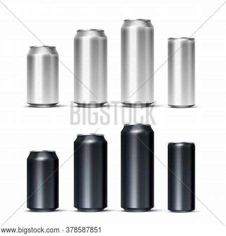 Realistic Vector Dark Silver Steel Drink Mockup Set. Aluminum Bear, Soda, Lemonade, Energetic Cans B