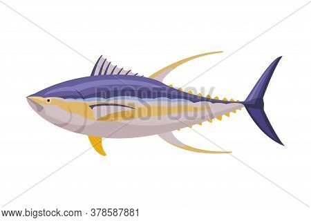 Yellowfin Tuna Fresh Aquatic Sea Fish Species Cartoon Vector Illustration