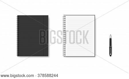 Realistic Notebook With Metal Spiral. Isolated Blank Diary Textbook. Open And Closed Template Of Org