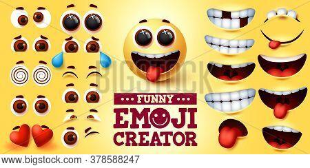 Funny Emoji Smiley Vector Creator Set. Smiley Emojis Kit In Funny Faces With Editable Facial Express