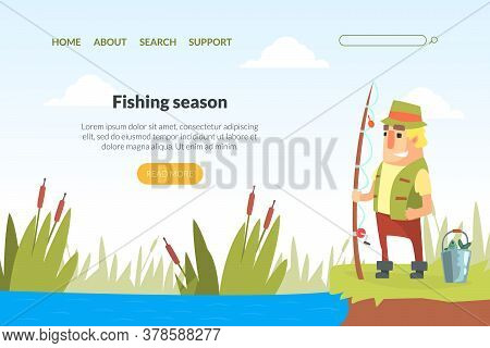 Fishing Season Landing Page Template, Funny Fisherman Character Standing On Lake Shore With Fishing