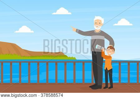 Grandfather Walking With His Grandson In Park, Boy Looking Through Spyglass, Elderly Man Spending Ti