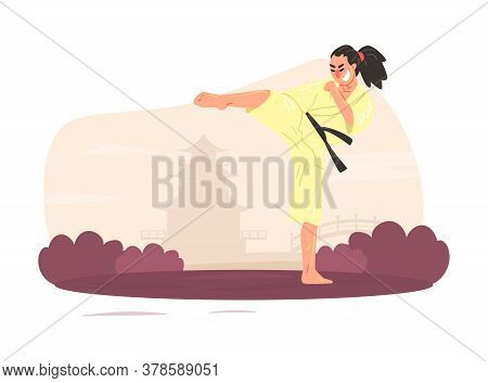Asian Man Martial Art Fighter Character Wearing Kimono Performing High Kick Outdoors Cartoon Vector
