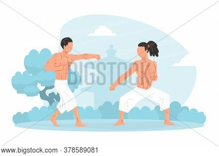 Two Strong Muscular Asian Men Martial Art Fighters Training Outdoors Cartoon Vector Illustration