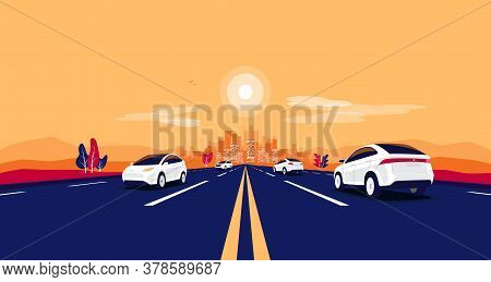 Car Traffic On The Road Panoramic Perspective Horizon Vanishing Point View. Flat Vector Cartoon Styl