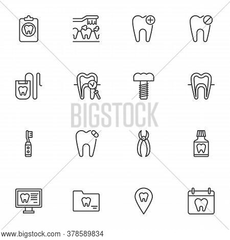 Dentistry Line Icons Set, Outline Vector Symbol Collection, Linear Style Pictogram Pack. Signs, Logo