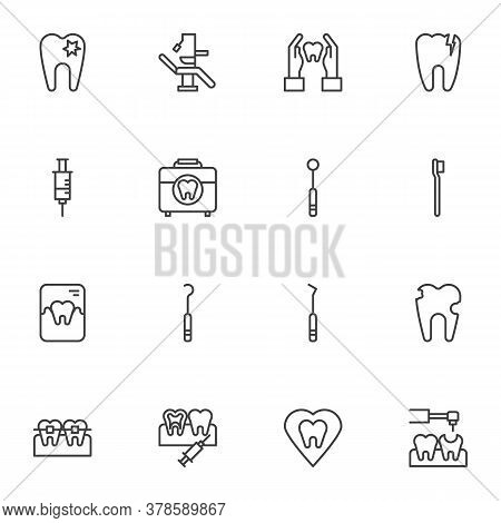 Dentist, Orthodontics Line Icons Set, Dentistry Outline Vector Symbol Collection, Linear Style Picto
