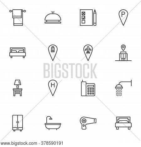 Hotel Related Line Icons Set, Outline Vector Symbol Collection, Linear Style Pictogram Pack. Signs,