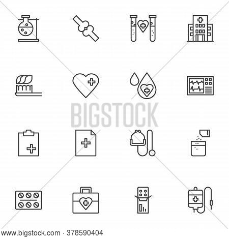Medical Line Icons Set, Outline Vector Symbol Collection, Linear Style Pictogram Pack. Signs, Logo I