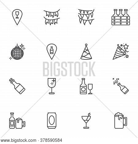 Party Birthday Celebration Line Icons Set, Outline Vector Symbol Collection, Linear Style Pictogram