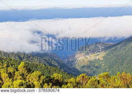 Aerial View Over The Village Sao Vicente On The Portugese Island Of Madeira In Summer