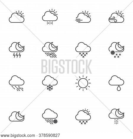 Weather Line Icons Set, Outline Vector Symbol Collection, Linear Style Pictogram Pack. Signs, Logo I