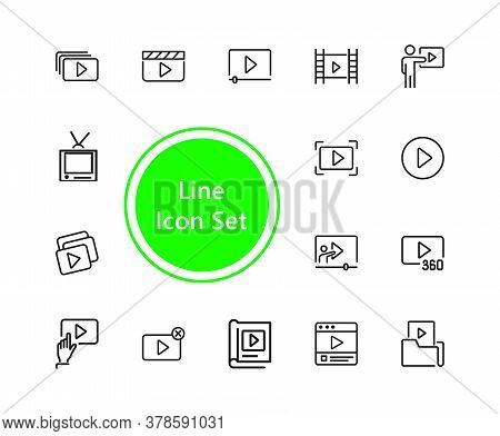Video Content Icons. Set Of Line Icons. Player, Screen, Tv. Video Content Concept. Illustration Can