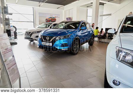 Petrozavodsk, Russia - June 19, 2019: Cars In Showroom Of Dealership Nissan In Petrozavodsk In Russi