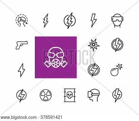 Danger Icons. Set Of Line Icons. Caution, High Voltage, Radiation Hazard. Danger Concept. Illustrati