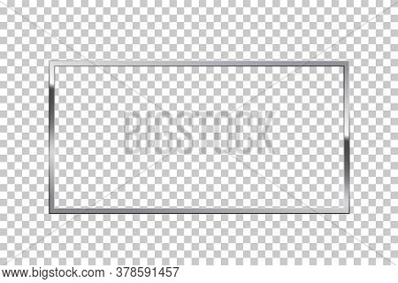 Shiny Sparkling Silver Rectangle Vector Illustration. Glossy, Glowing Rendering Effect. Present For